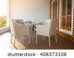 white dining table set in...   Shutterstock . vector #408373108