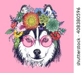 husky hippie and flowers. dog... | Shutterstock .eps vector #408380596