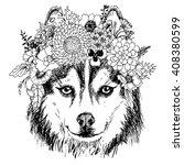 husky hippie and flowers. dog... | Shutterstock .eps vector #408380599