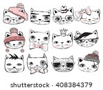 Set Of Stylish Cats. Vector...