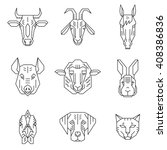 home animal heads   line icons... | Shutterstock .eps vector #408386836