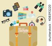 travel bon voyage baggage... | Shutterstock .eps vector #408393220