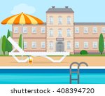 lounge with umbrella near the... | Shutterstock .eps vector #408394720