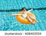 happy little girl having fun ... | Shutterstock . vector #408403534