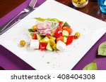 vegetarian salad with feta... | Shutterstock . vector #408404308