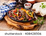 beef fajitas with colorful bell ... | Shutterstock . vector #408428506