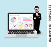 hipster businessman with online ... | Shutterstock .eps vector #408431893