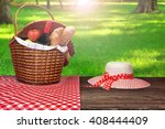 female white hat and picnic... | Shutterstock . vector #408444409