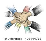 unity of hands sketch vector... | Shutterstock .eps vector #408444793
