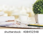 closeup of desk with coffee cup ... | Shutterstock . vector #408452548