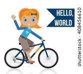 girl riding a bike. hello...   Shutterstock .eps vector #408456610