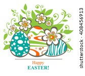 easter egg and butterflies on a ... | Shutterstock . vector #408456913