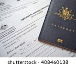 australian passport with... | Shutterstock . vector #408460138