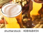 two beer glasses with hops ... | Shutterstock . vector #408468454