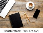 working place with laptop on...   Shutterstock . vector #408475564