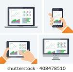 statistics. flat vector...