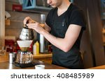 barista making kemeks coffee.... | Shutterstock . vector #408485989