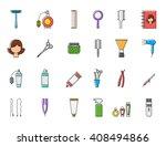 set of 24 barbershop colorful... | Shutterstock .eps vector #408494866