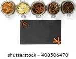 spices and herbs in big glass... | Shutterstock . vector #408506470