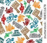 seamless mayan and aztec totems ... | Shutterstock .eps vector #408511678