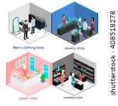 isometric interior of stores set | Shutterstock .eps vector #408518278