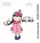 cute girl illustration.for... | Shutterstock .eps vector #408519004