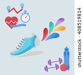vector fitness icons in flat... | Shutterstock .eps vector #408519814