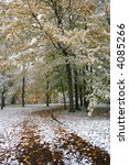 park drive after early snowfall ... | Shutterstock . vector #4085266