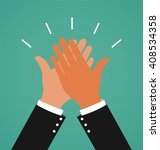 two business hands giving a... | Shutterstock .eps vector #408534358