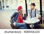 young beautiful stereotypical... | Shutterstock . vector #408546133