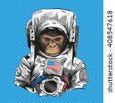 monkey in astronaut suit. hand... | Shutterstock .eps vector #408547618