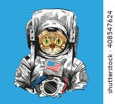 bengal cat in astronaut suit.... | Shutterstock .eps vector #408547624