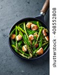 sesame seed chicken with green...   Shutterstock . vector #408552808