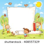 cartoon frame with three kids... | Shutterstock .eps vector #408557329