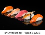 assortment of nigiri sushi on a ... | Shutterstock . vector #408561238