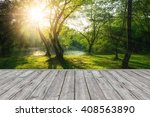 wood plank on sunset and forest ... | Shutterstock . vector #408563890