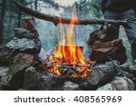 bonfire cooking | Shutterstock . vector #408565969