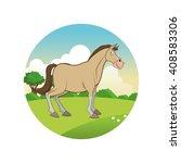 horse cartoon  colorful design | Shutterstock .eps vector #408583306