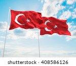 3d illustration of turkey flags ... | Shutterstock . vector #408586126