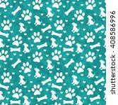 Teal And White Dog Paw Prints ...