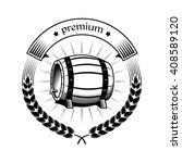 beer label with a wooden barrel ... | Shutterstock .eps vector #408589120