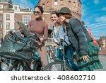 three friends exploring the... | Shutterstock . vector #408602710