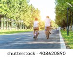 father and son cycling in the... | Shutterstock . vector #408620890