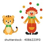 tiger and clown with balls | Shutterstock .eps vector #408622393