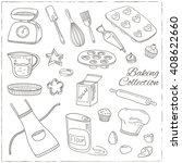 set of baking tools. hand drawn ... | Shutterstock .eps vector #408622660
