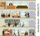 scenes of people working in the ... | Shutterstock . vector #408623173