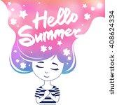 hello summer quote. cute... | Shutterstock .eps vector #408624334