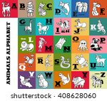 cartoon doodle animals alphabet. | Shutterstock .eps vector #408628060