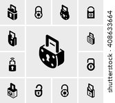 lock vector icons set on gray.  | Shutterstock .eps vector #408633664