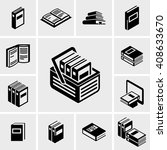 book vector icons set on gray.    Shutterstock .eps vector #408633670